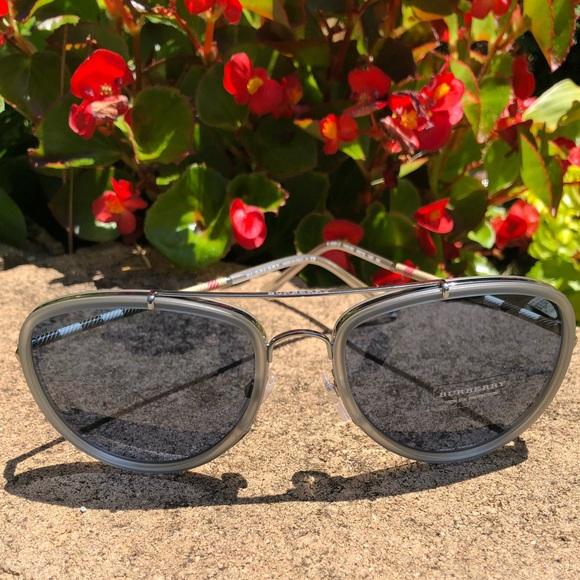 088df1deefe34 Burberry Other - Burberry Gunmetal Matte Grey Aviator Sunglasses